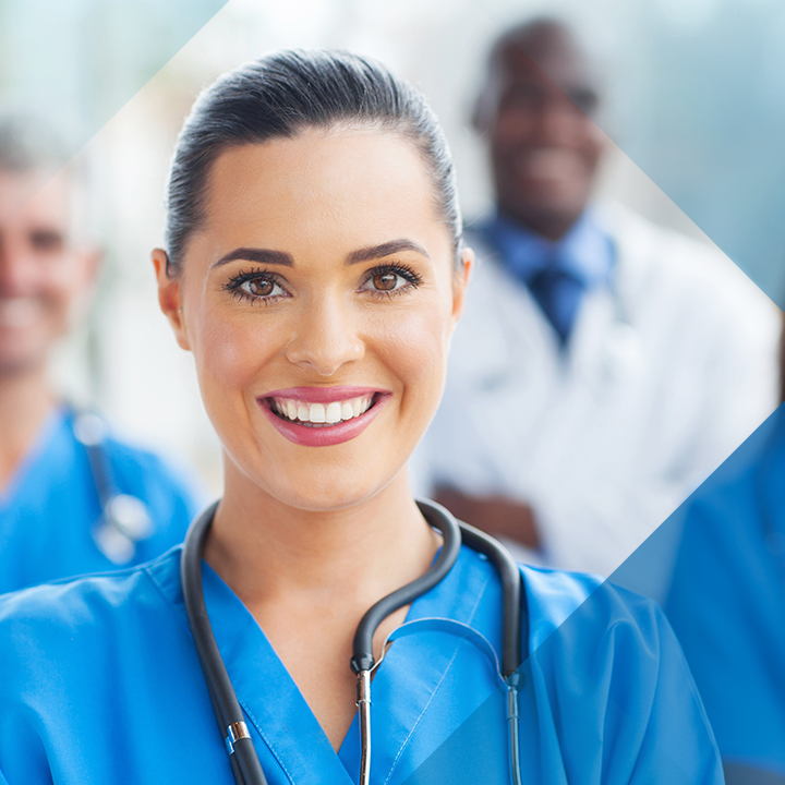 Image of a female nurse with a blue hash pattern overlay