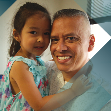 A portrait of Impella patient Jay Sanchez and his daughter on a teal background with a hash pattern overlay