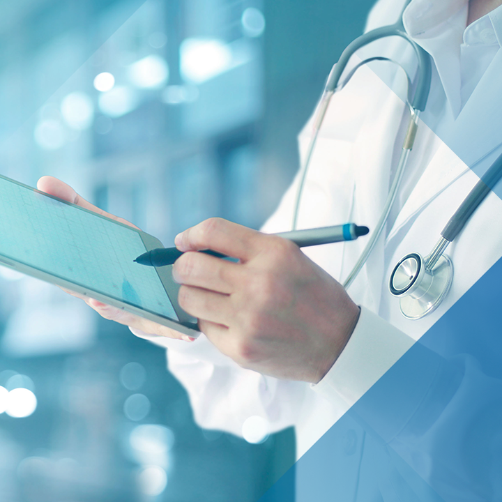 Image of a physician using a tablet with a blue hash pattern overlay