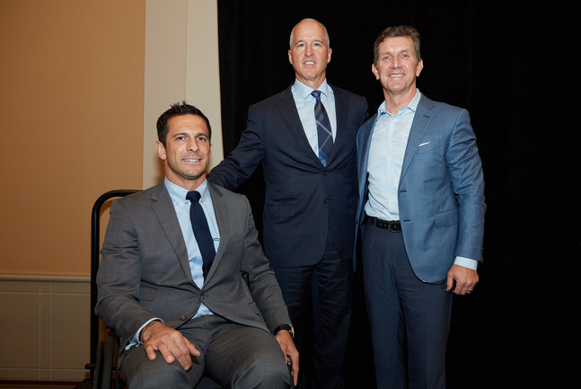 Portrait of Abiomed CEO, Mike Minogue, and two veterans