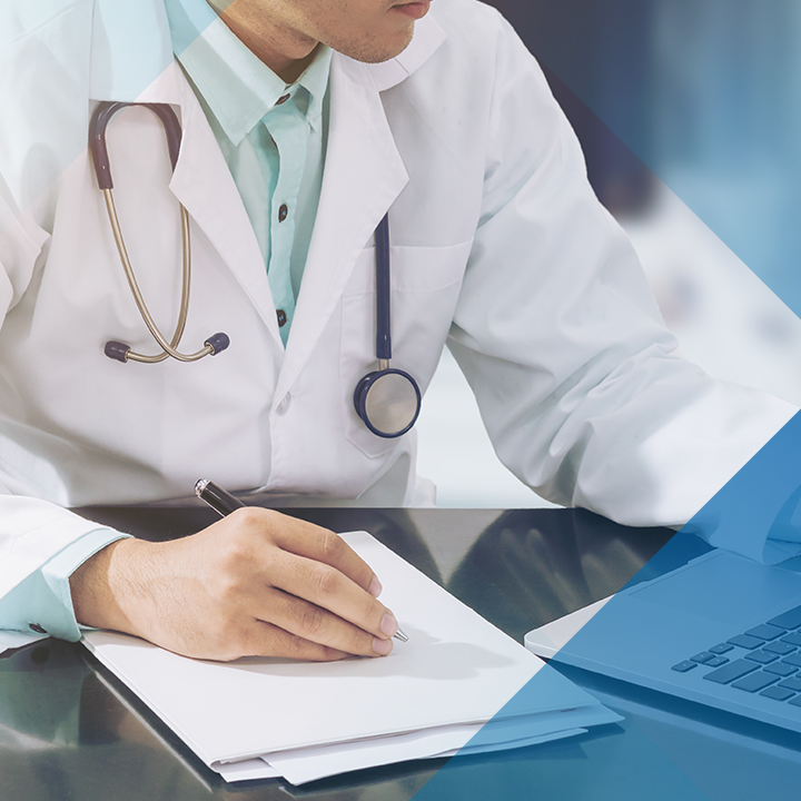 Image of a physician using a laptop with a blue hash pattern overlay